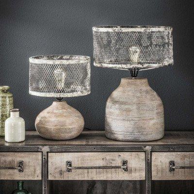 LifestyleFurn Tafellamp 'Cary' met houten voet, Ø31cm