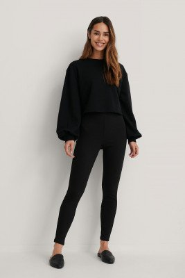 NA-KD Basic NA-KD Basic Zachte Geribde Legging Met Hoge Taille - Black