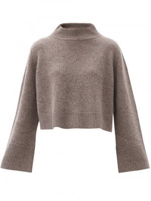 Matchesfashion Co - High-neck Cropped Wool-blend Sweater - Womens - Brown