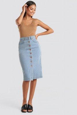 NA-KD NA-KD Button Up Denim Midi Skirt - Blue