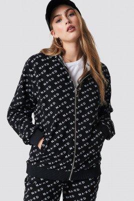 NA-KD NA-KD Branded Zipper Hoodie - Black