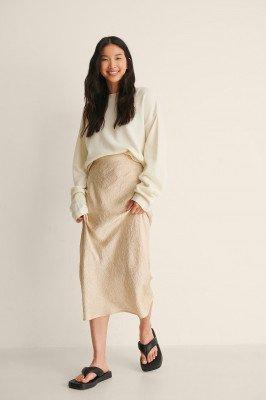NA-KD Classic NA-KD Classic Satin Wrinkle Skirt - Beige