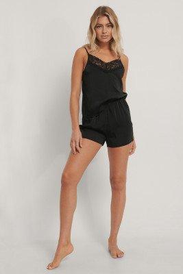 NA-KD Lingerie NA-KD Lingerie Lace Edge Night Satin Shorts - Black