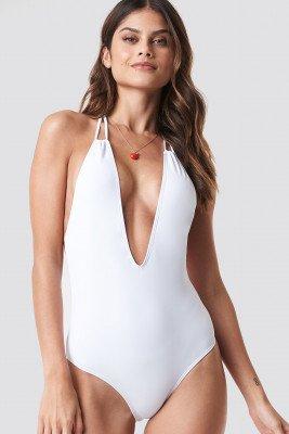 NA-KD Swimwear Halterneck Plunge Swimsuit - White