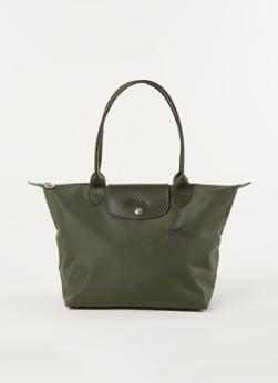 Longchamp Longchamp Le Pliage Green schoudertas S met leren details