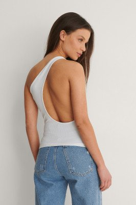 NA-KD Party NA-KD Party Gerecycleerd Tanktop Met Lage Hals Achter - White