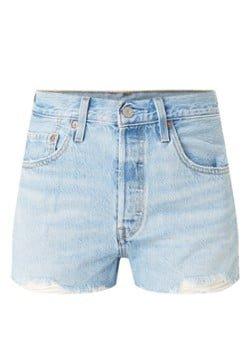 Levi's Levi's 501 high waist straight fit korte spijkerbroek met gerafelde zoom