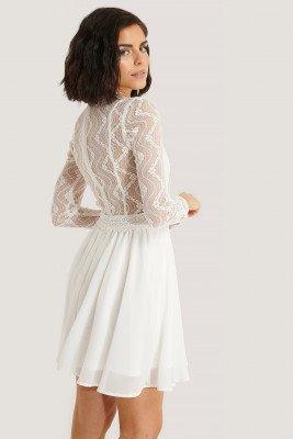NA-KD Boho NA-KD Boho Lace Anglaise LS Mini Dress - White