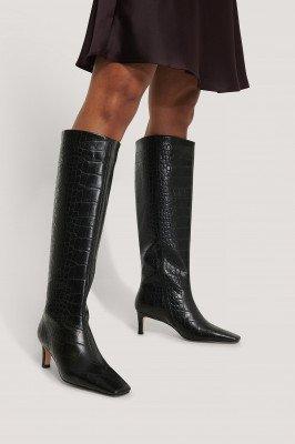 NA-KD Shoes NA-KD Shoes Laarzen Met Schacht En Vierkante Lange Neus - Black