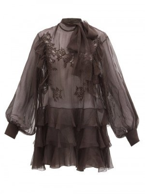 Matchesfashion Valentino - Pussy-bow Lace-trimmed Silk-chiffon Blouse - Womens - Dark Brown