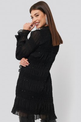 NA-KD Party NA-KD Party High Neck Sequins Detail Dress - Black