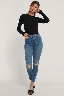 NA-KD Reborn NA-KD Reborn Organisch Versleten Skinny Jeans Met Hoge Taille - Blue
