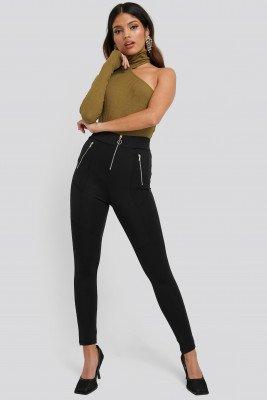NA-KD NA-KD Exposed Zipper Leggings - Black