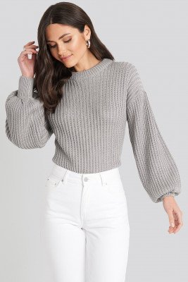 NA-KD NA-KD Balloon Sleeve Round Neck Sweater - Grey