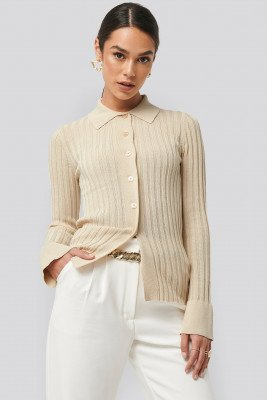 NA-KD Trend Ribbed Buttoned Knitted Sweater - Beige