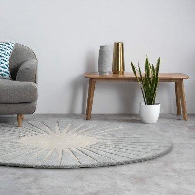 MADE.COM Vaserely rond wollen vloerkleed 200 cm, grijs