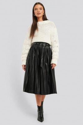 NA-KD Trend NA-KD Trend Pleated Pu Belt Skirt - Black