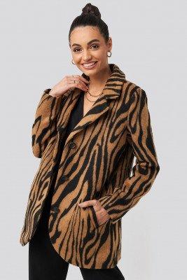 NA-KD Trend NA-KD Trend Printed Tiger Coat - Brown,Multicolor