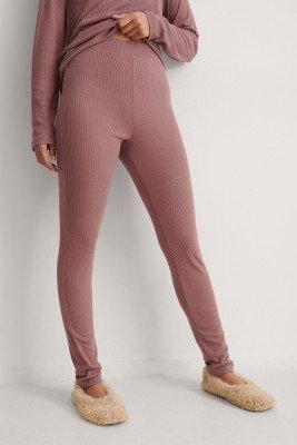 NA-KD Basic NA-KD Basic Gerecyclede Zachte Geribde Panty Met Hoge Taille - Pink