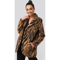 NA-KD Trend Printed Tiger Coat - Brown,Multicolor