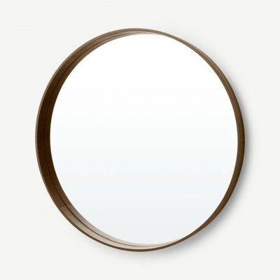 MADE.COM Bex grote ronde spiegel 76cm, walnoothout