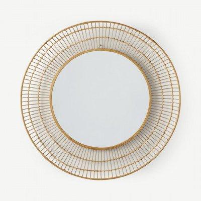 MADE.COM Tulsi ronde wandspiegel van bamboe, 80 cm