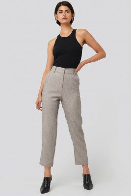 NA-KD Classic Cropped Suit Pants - Grey