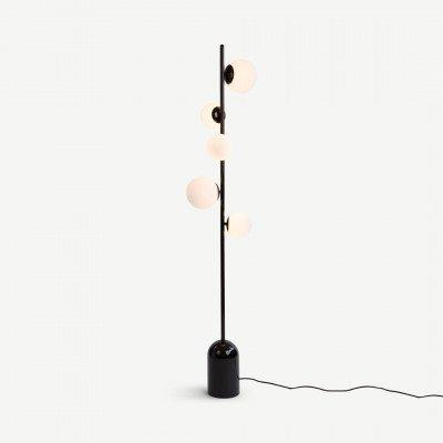 Vetro staande lamp, zwart en opaal glas