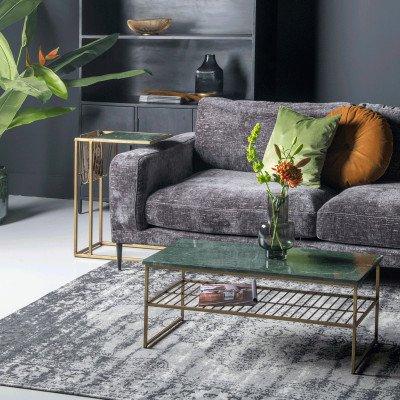 LivingFurn Bijzettafel 'Marble' kleur goud met groen marmer
