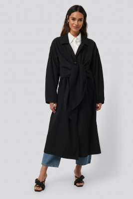NA-KD Trend NA-KD Trend Tie Front Trench Coat - Black