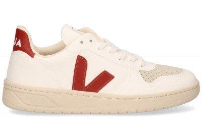 VEJA VEJA V-10 CWL Wit/Rood Damessneakers