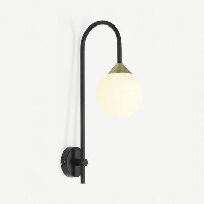 MADE.COM Faye wandlamp, zwart en antiek messing