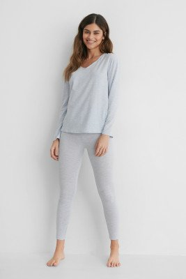 NA-KD Lingerie Loungewear Cotton Set - Blue