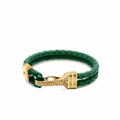 Nialaya Men's Green Leather Bracelet with Gold Bali Clasp Lock