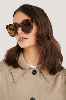 NA-KD Accessories Oversize Chunky Cateye Sunglasses - Brown