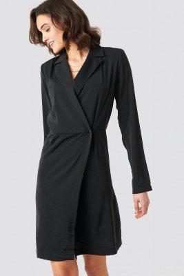 NA-KD Party Collared Wrap Over Midi Dress - Black