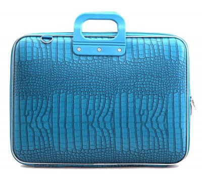 Bombata Bombata Croco Hardcase Laptoptas 17 inch Turquoise