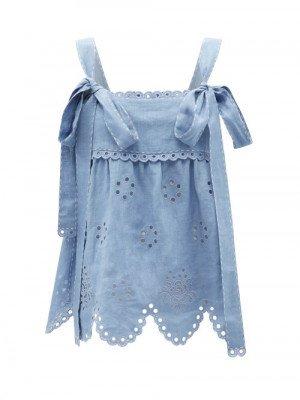 Matchesfashion Vita Kin - Colette Broderie-anglaise Linen Cami Top - Womens - Light Blue