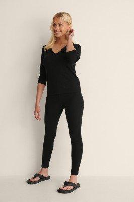NA-KD Lingerie NA-KD Lingerie Gerecyclede zachte geribde panty met hoge taille - Black