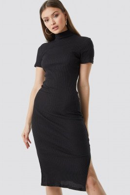 Chloé B x NA-KD Chloé B x NA-KD Jersey Rib Midi Dress - Black