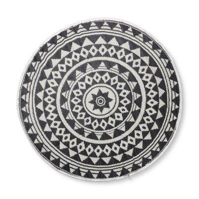 Xenos Buitenkleed mandala - zwart/wit - 150 cm