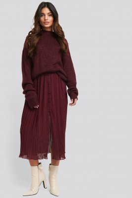NA-KD NA-KD Button Detail Pleated Skirt - Red