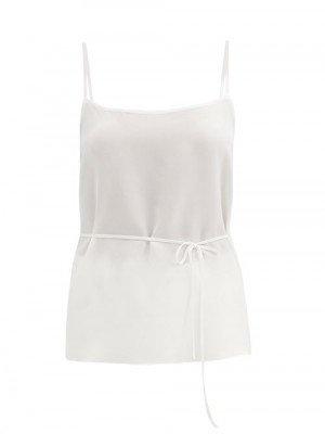 Matchesfashion Raey - Tie-waist Silk Crepe De Chine Cami Top - Womens - Ivory