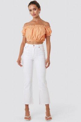 NA-KD Raw Hem Kick Flare Jeans - White