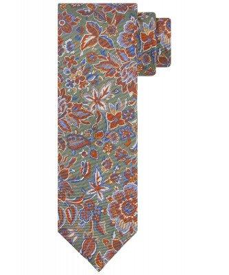 Profuomo Profuomo heren groene zijden bloemenprint stropdas