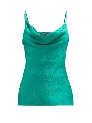 Sies Marjan - Amira Cowl-neck Crinkled-satin Cami Top - Womens - Green