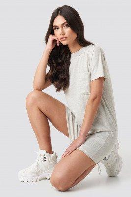 NA-KD NA-KD Chest Pocket T-shirt Dress - Grey