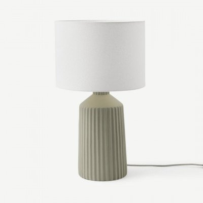 MADE.COM Kae hoge tafellamp, bleekgroen