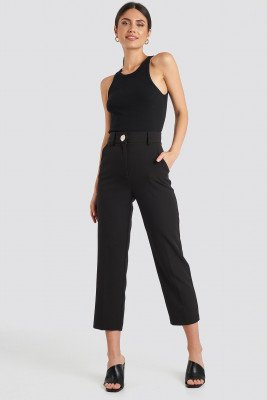 NA-KD Classic NA-KD Classic Gold Button Suit Pants - Black