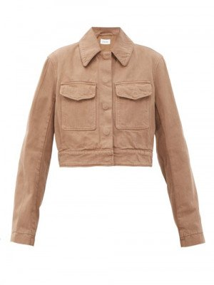 Lemaire - Cropped Garment-dyed Denim Jacket - Womens - Light Brown
